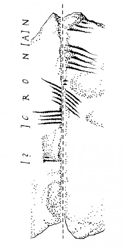 Digital image of drawing showing ogam inscription on a stone found near long cists at Poltalloch, Argyll and Bute. See RCAHMS (1992) Argyll: an inventory of the monuments, Volume 7 -Mid Argyll and Cowal, No.91, fig. A, pg 199