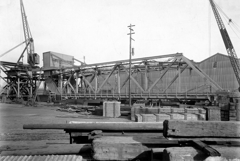 Ex-Scotland. Rolling-lift bridge, Bombay, India View of lifting bridge during assembly at Arrol's workshops, Glasgow