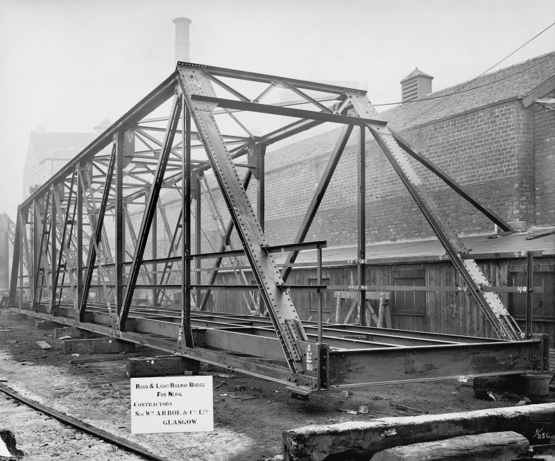 Ex-Scotland. Road and light Railway Bridge, unspecified, Nepal View of 105 feet span by 11 feet 7 1/2 inch clear width roadway - assembled outside erecting shop at Dalmarnock Iron Works