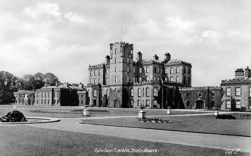 View from South East (before demolitions), postcard insc: 'Gordon Castle, Fochabers.  Copyright FBS.12'