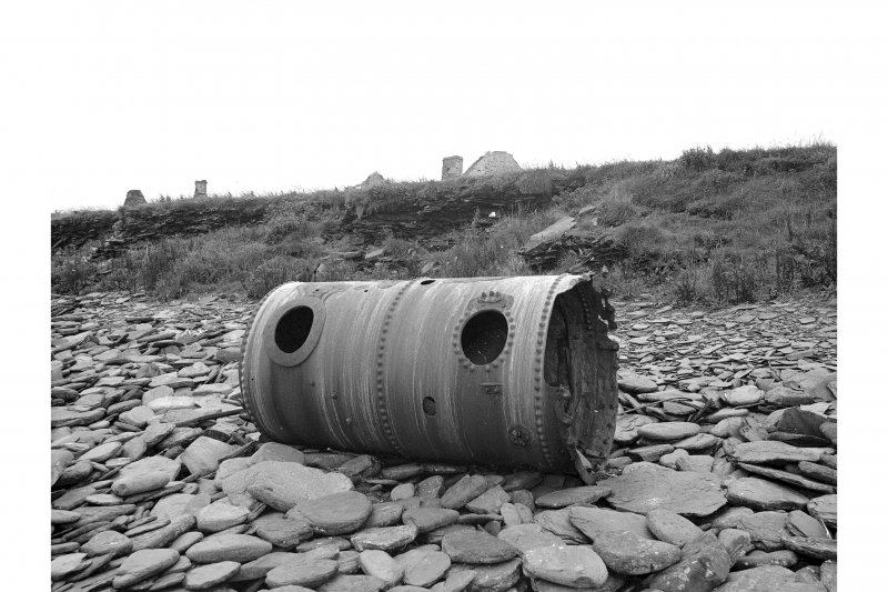 Belnahua Slate Quarry View of discarded upright boiler on E side of the island