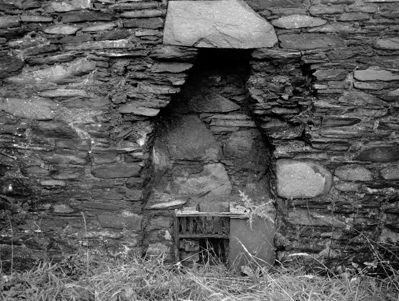 Belnahua Slate Quarry View of narrowed fireplace in worker's cottage