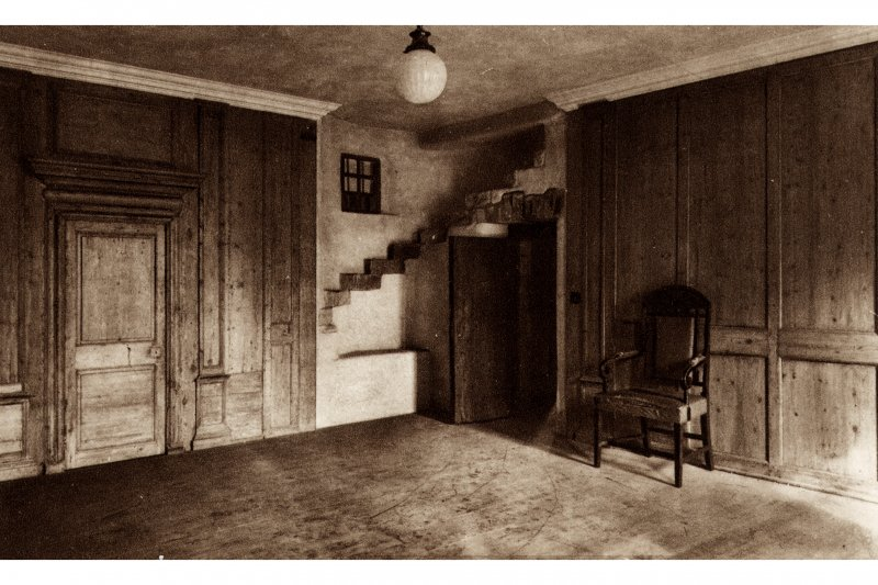 Huntly House, interior Postcard showing general view Titled: 'Huntly House, Canongate, Edinburgh, Panelled room on first floor'