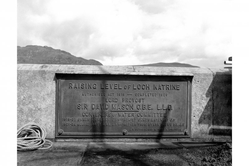 Loch Katrine Reservoir View of plaque at Royal Cottages commemorating the works to raise the water level 1919-29