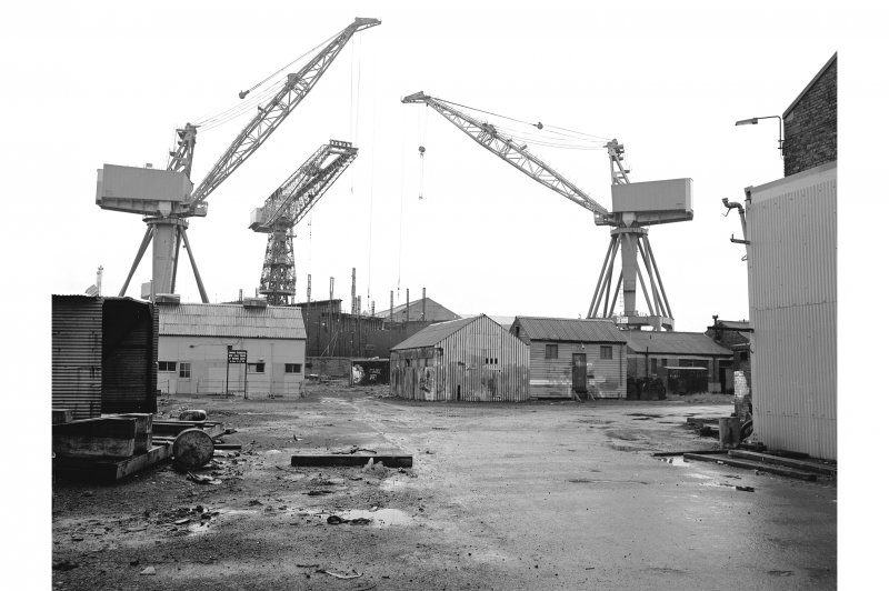 Glasgow, Scotstoun Shipbuilding Yard View of cranes from E