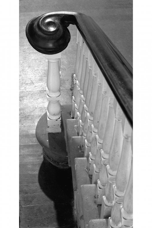 Ardpatrick House, interior. Detail of newel-post, from above.