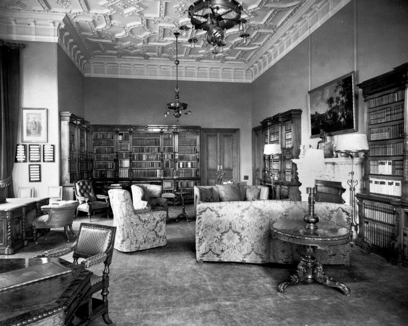 Poltalloch House Interior - view of the Red Library