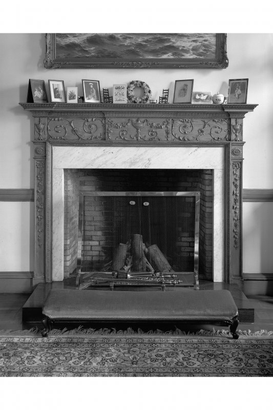 Ardlamont House, interior. View of lounge fireplace.