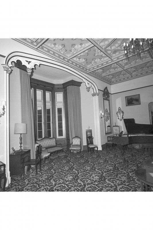 Minard House (Castle), interior. View of bay window in drawing room.