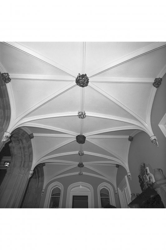 Minard House (Castle), interior. View of vaulted ceiling in entrance hall.