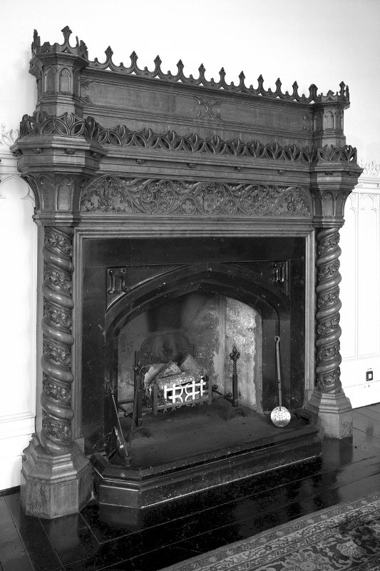 Minard House (Castle), interior. Detail of fireplace in dining room.