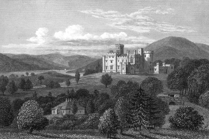 Castle Toward. Engraving showing distant view of Castle Toward. 19th century