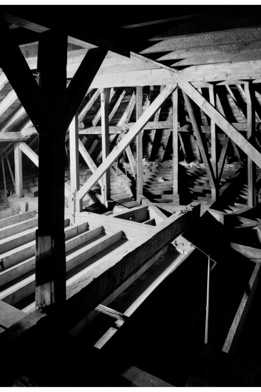 Inveraray, Courthouse, interior. View of roof construction showing cantilever beam over courtroom.