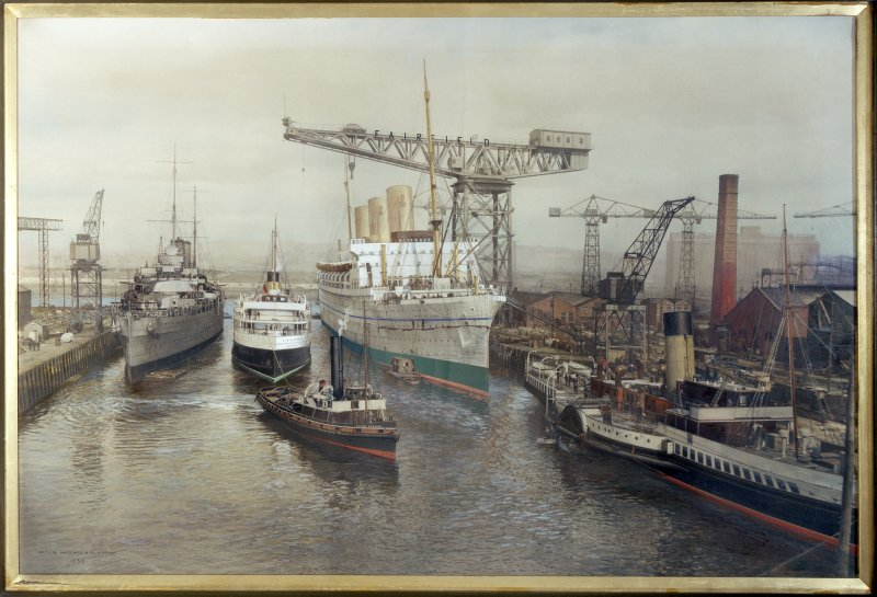 Glasgow, 1030-1048 Govan Road, Shipyard Offices. Photographic copy of painting of Fairfield's fitting-out basin.