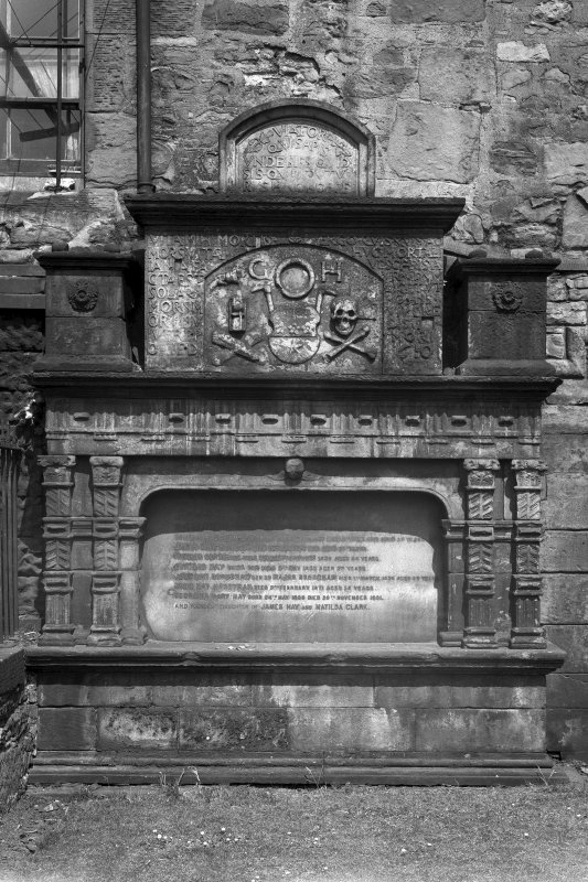 Detail of monument to George Heriot Senior.