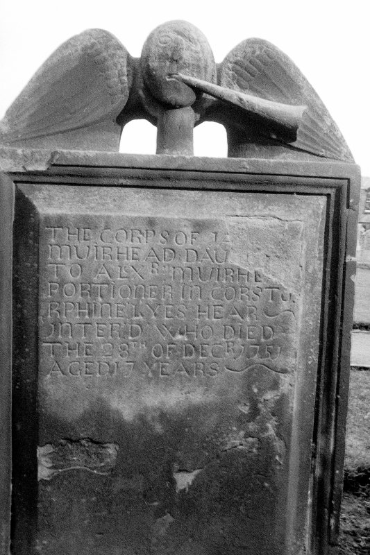 View of East face of tombstone of Janet Muirhead in St John's churchyard, Corstorphine. Tombstone dated 28th December 1751.