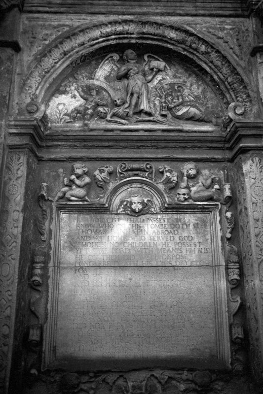 Detail of monument to Thomas Bannatyne dated 1638.