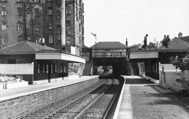 Morningside Road Station. View from West of the two platforms and the bridge.