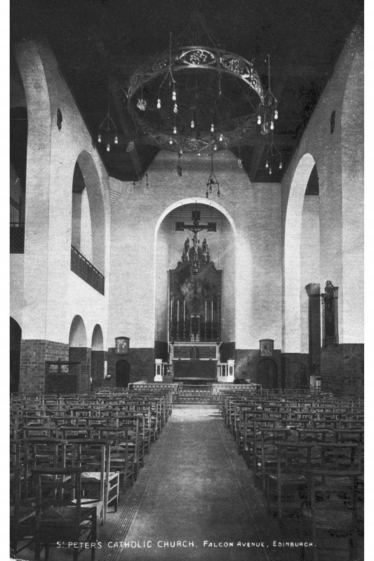 St Peter's Church, interior. Photographic copy of postcard showing view towards alter.