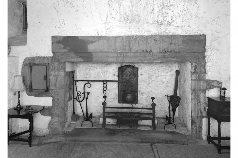 Dunderave Castle, interior View of fireplace and aumbry in North wall of Hall