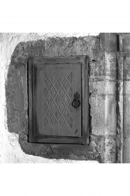 Dunderave Castle, Interior Detail of aumbry door in North wall of Hall