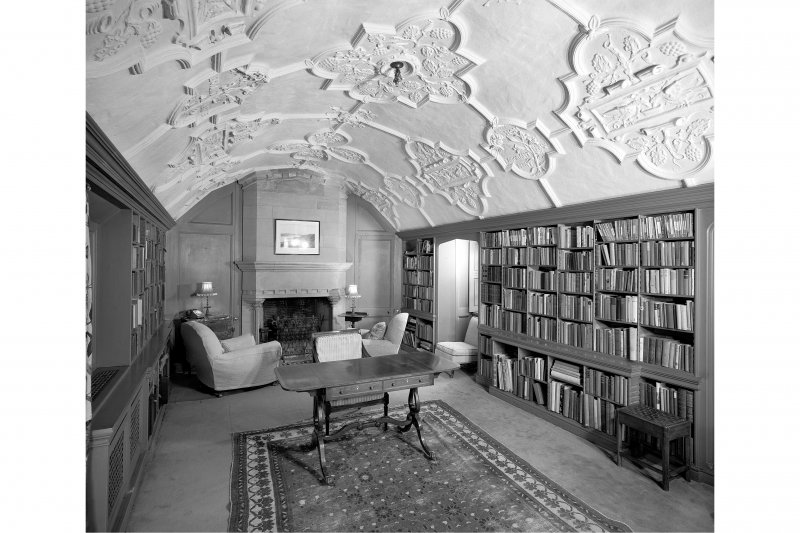Interior view of Library on first floor of South East range, Dunderave Castle