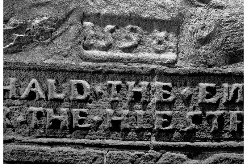 Dunderave Castle Detail of lintel above main entrance doorway showing 1598 date stone