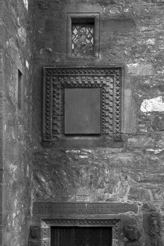 Dunderave Castle View of carved panel and window above main entrance doorway