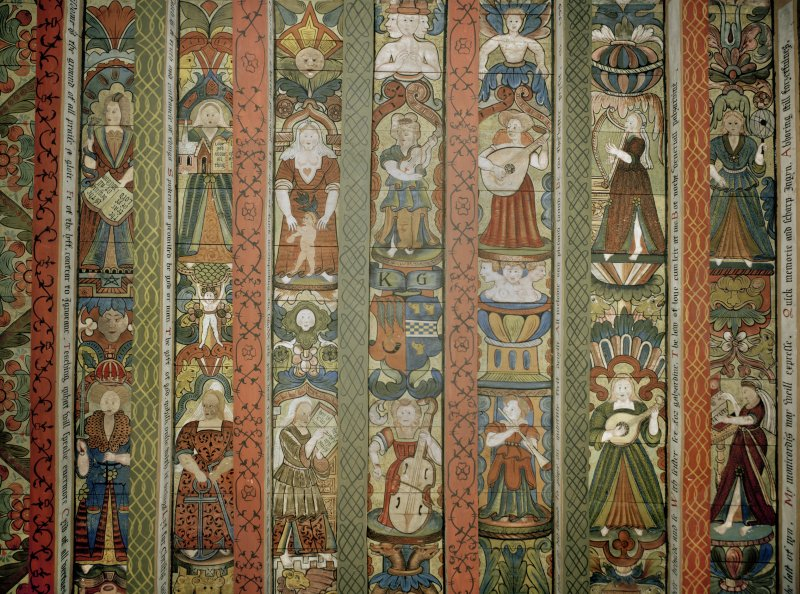 Crathes Castle. Detail of painted ceiling in the Chamber of the Muses.