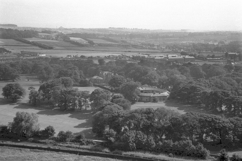 Distant view of Prestonfield House and Stables