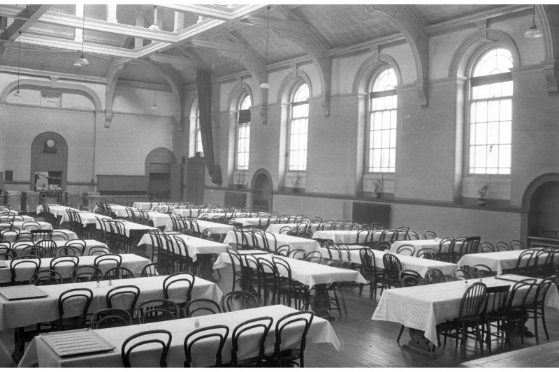 West House, interior. View of dining hall.