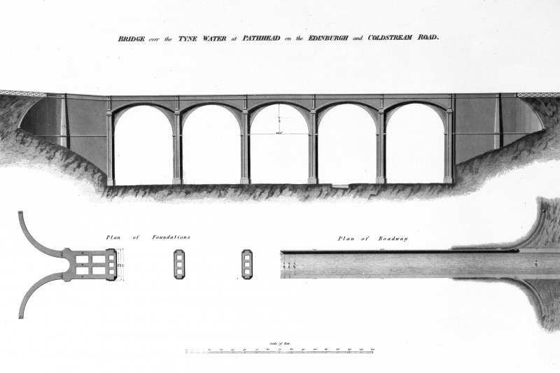 Copy of drawing from the Atlas to the life of Thomas Telford (1838), of Lothian Bridge (over the Tyne Water) at Pathead