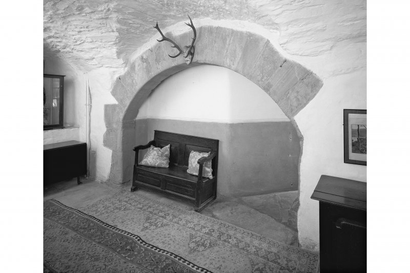 Dunderave Castle, interior View of kitchen fireplace on ground floor of North East wing