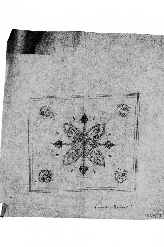 Dunderave Castle Photographic copy of proposed design for ceiling of second floor bedroom over Boudoir, approximately as executed. Executed on tracing paper in pencil. Scale 1/8""