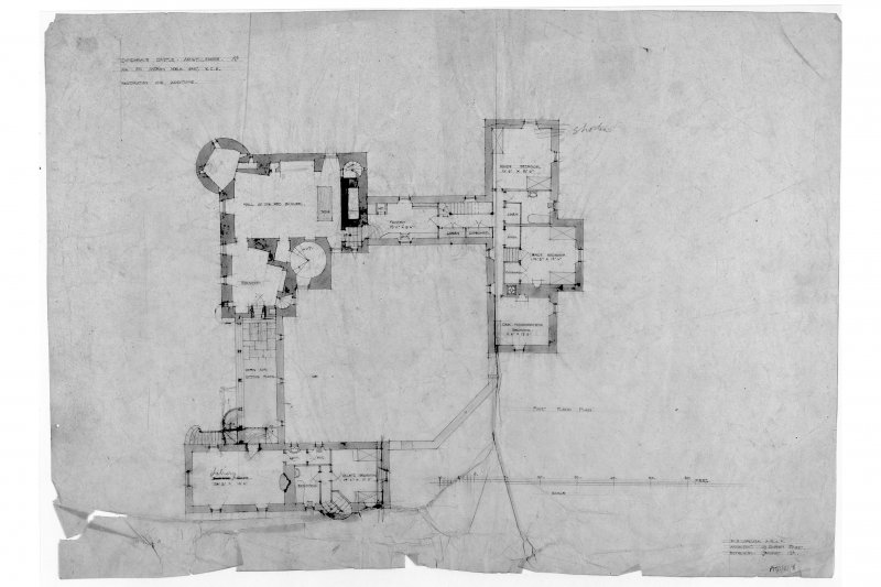 Dunderave Castle Photographic copy of first floor plan of castle with proposed additions. Plan titled: 'Dunderave Castle,  Argyllshire, For Sir Andrew Noble Bart, Restoration and Additions'. Plan insc: 'R. S. Lorimer A.R.S.A.    49 Queen Street   Edinburgh   March 1911'.