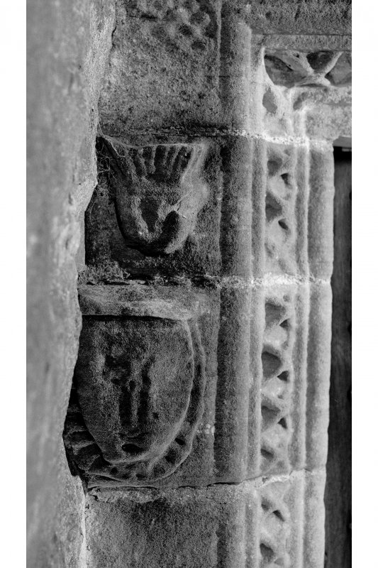 Dunderave Castle Detail of carved rybats on West jamb of main entrance doorway