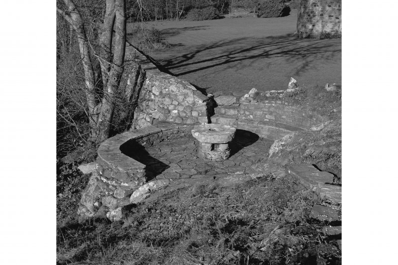 Dunderave Castle View of millstone in garden