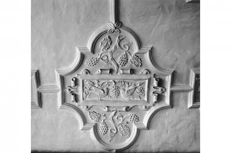 Dunderave Castle, Interior Detail of library ceiling on first floor of South East range