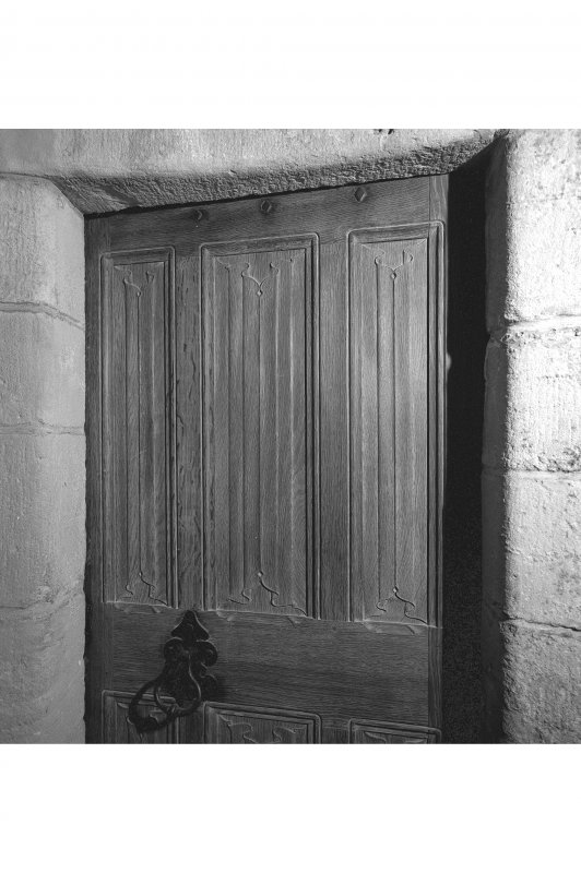 Dunderave Castle, Interior Detail of panelled door in North chamber on second floor