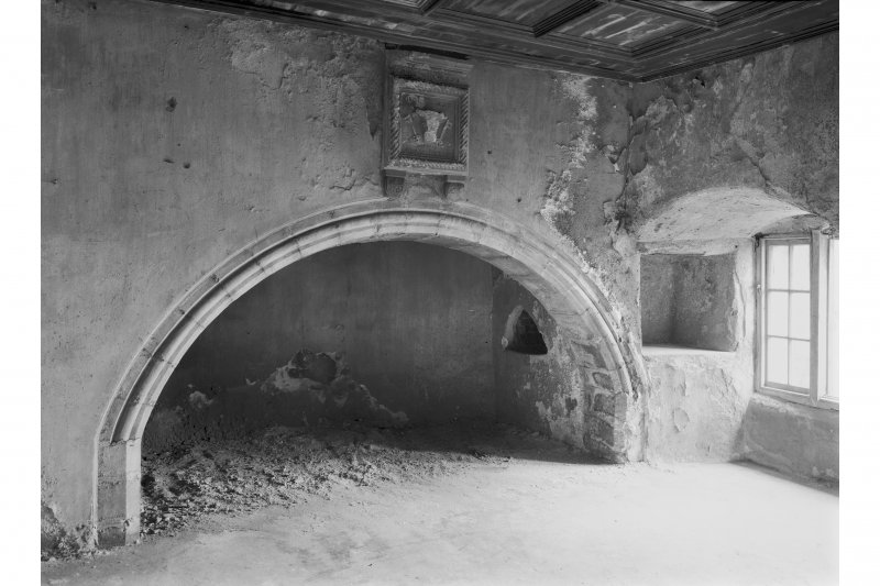 Saddell Castle, view of kitchen fireplace, first floor