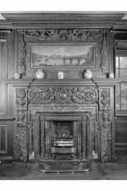 Interior. Detail of fireplace in the Tapestry Room.