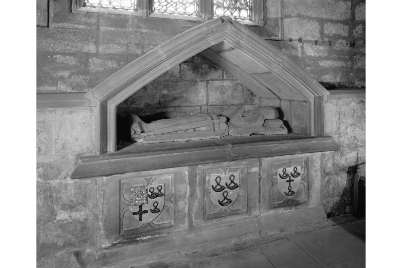 Edinburgh, Kirk Loan, Corstorphine Church, interior. View of the tomb of Sir Adam Forrester, a recumbant effigy in a wall niche.