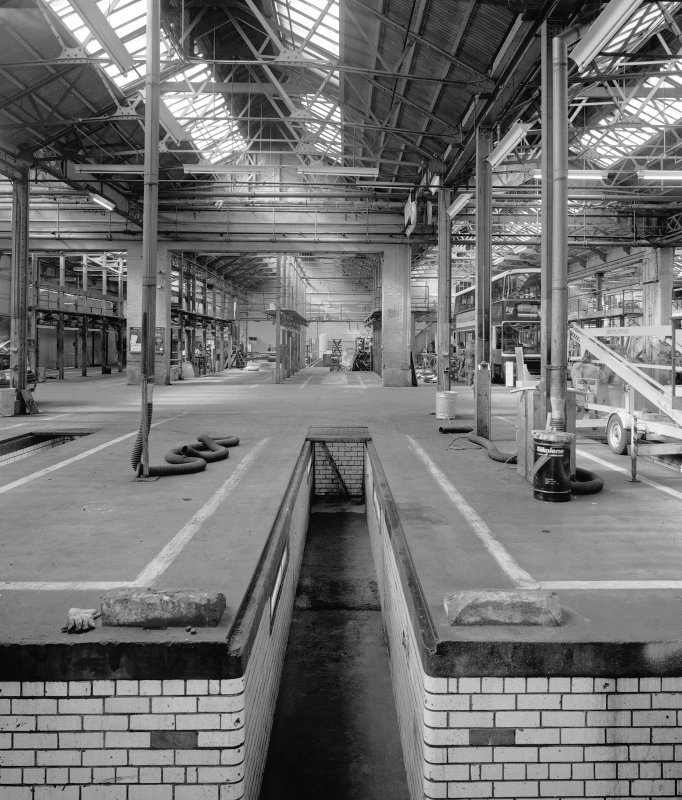 Edinburgh, Shrubhill Tramsways Depot, interior view of Body Shop from NE