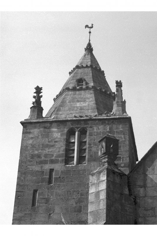 Edinburgh, Kirk Loan, Corstorphine Parish Church.  View of tower and spire with weathercock.