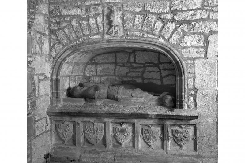 Edinburgh, Kirk Loan, Corstorphine Parish Church, interior. View of the tomb of Sir John Forrester I and his Lady, 1440. Niche with recumbant effigies in the North wall of the Chancel.