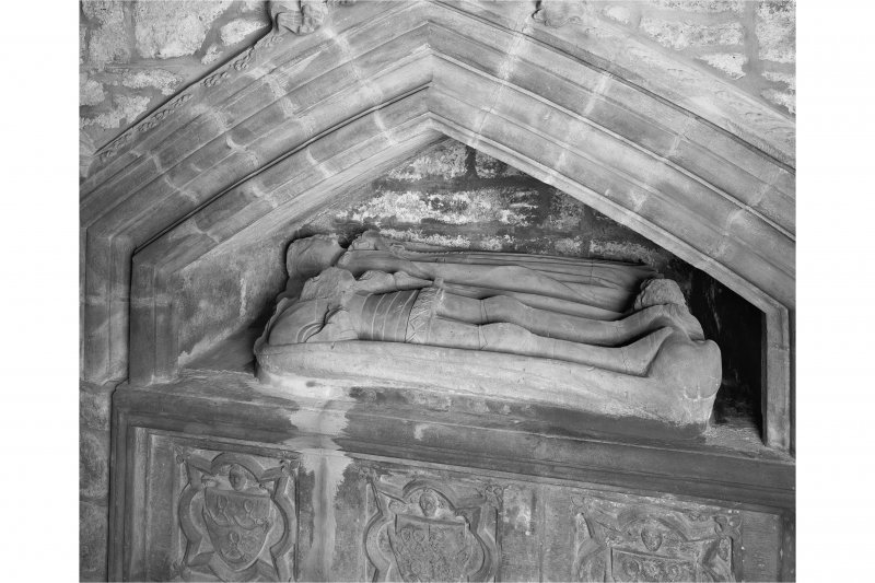 Edinburgh, Kirk Loan, Corstorphine Parish Church, interior. View of the tomb of Sir John Forrester II, 1454. Recumbant effigies of a Knight and his lady in a niche.