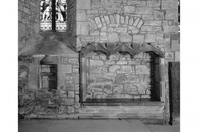 Edinburgh, Kirk Loan, Corstorphine Parish Church, interior. View of sedilia and piscina in South wall.