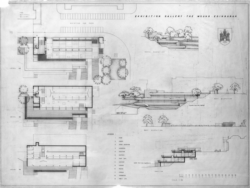 Edinburgh, East Princes Street Gardens, The Gallery of Modern Art. Digital image of plans, South, East and West elevations, section. Titled:   'Exhibition Gallery.  The Mound.  Edinburgh.'