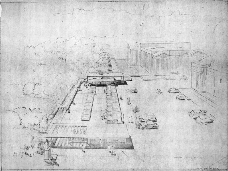 Edinburgh, East Princes Street Gardens, The Gallery of Modern Art. Digital image of an aerial perspective. Insc:   'View from North'