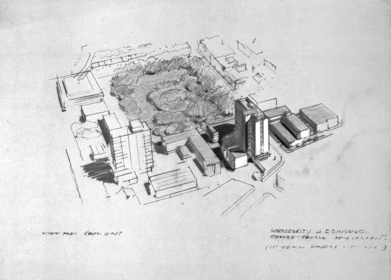 George Square, Appleton Tower. Digital image of an aerial perspective from South-East. Titled:   'University of Edinburgh.  George Square Development.  (1st year physics & maths.)'. Insc:    'View from South East'.